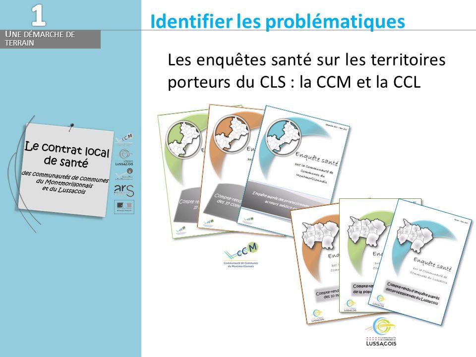 Identifier les problématiques U NE DÉMARCHE DE TERRAIN Les enquêtes santé sur les territoires porteurs du CLS : la CCM et la CCL