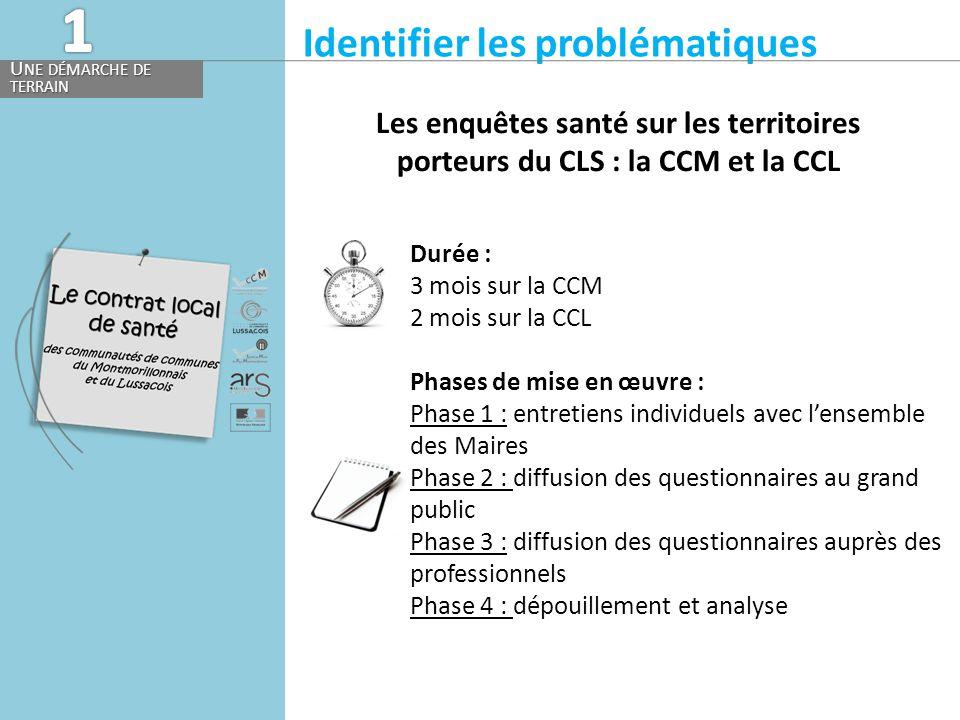 Identifier les problématiques U NE DÉMARCHE DE TERRAIN Les enquêtes santé sur les territoires porteurs du CLS : la CCM et la CCL Durée : 3 mois sur la