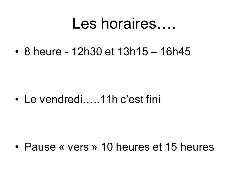 Les horaires….