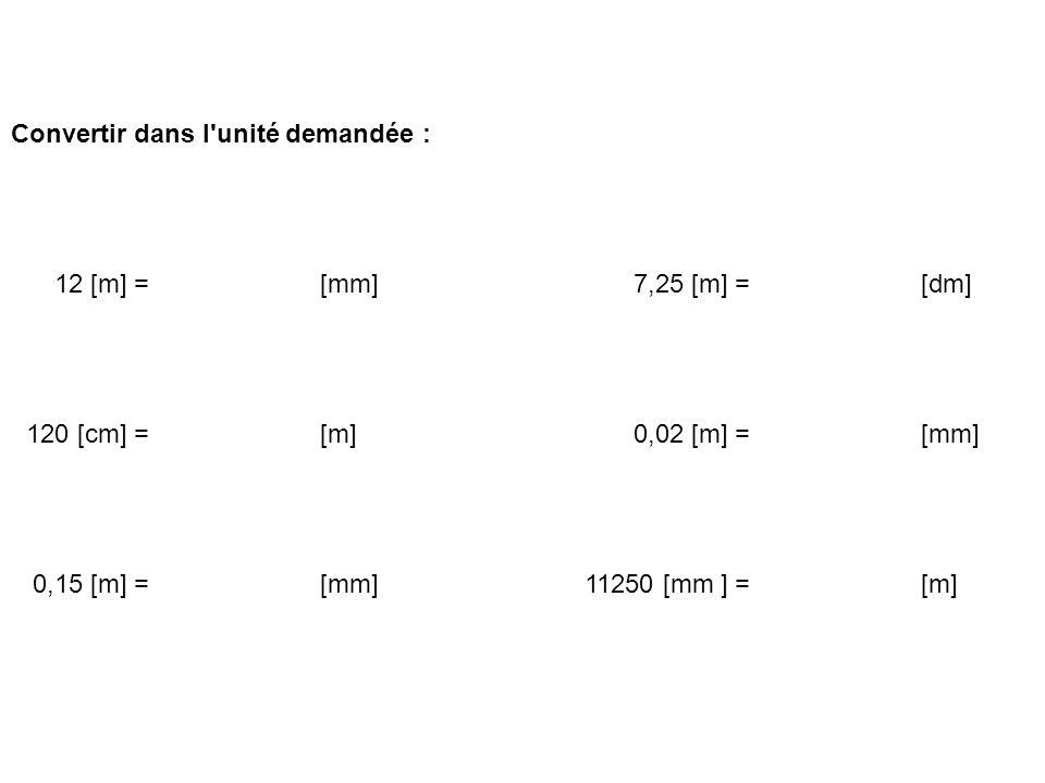 Convertir dans l'unité demandée : 12 [m] = [mm] 7,25 [m] = [dm] 120 [cm] = [m] 0,02 [m] = [mm] 0,15 [m] = [mm] 11250 [mm ] = [m]