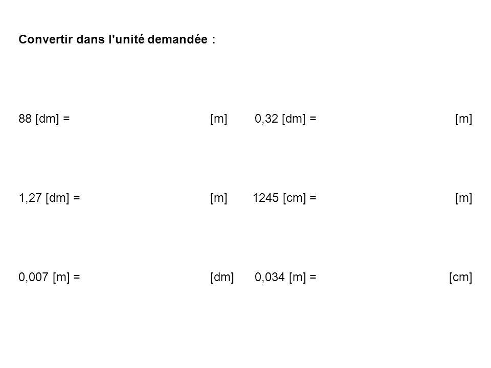 Convertir dans l'unité demandée : 88 [dm] = [m]0,32 [dm] = [m] 1,27 [dm] = [m]1245 [cm] = [m] 0,007 [m] = [dm]0,034 [m] = [cm]