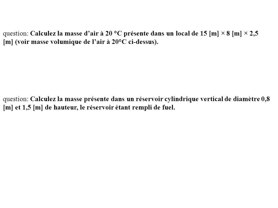 question: Calculez la masse d'air à 20 °C présente dans un local de 15 [m] × 8 [m] × 2,5 [m] (voir masse volumique de l'air à 20°C ci-dessus). questio