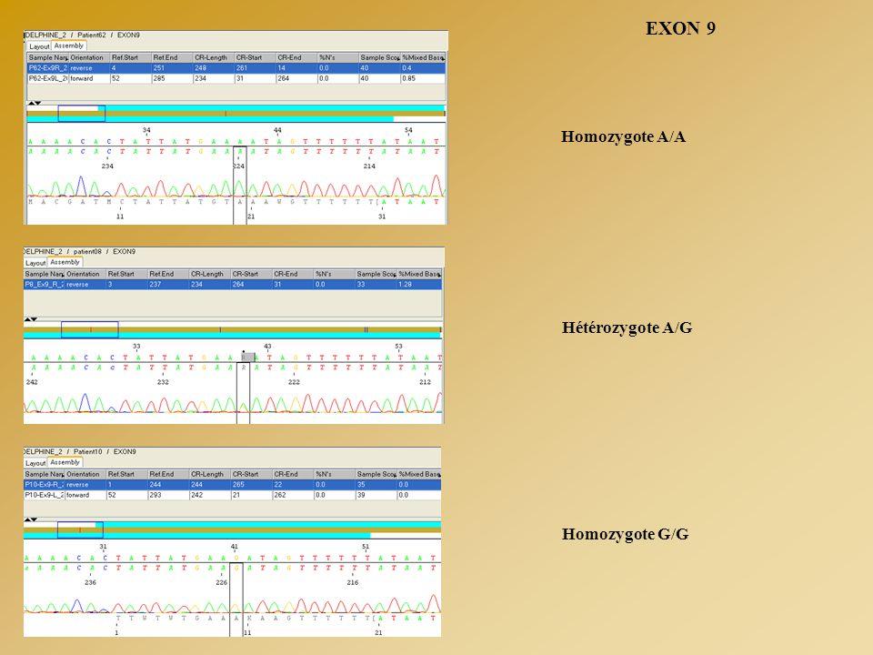 EXON 9 Homozygote A/A Homozygote G/G Hétérozygote A/G