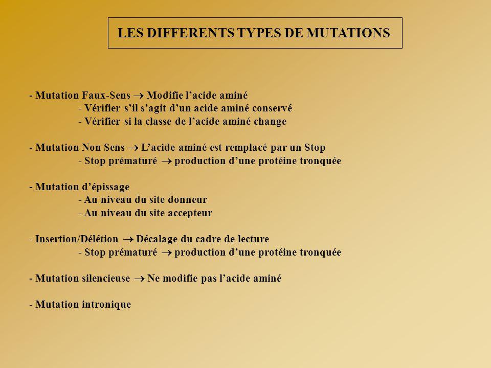 LES DIFFERENTS TYPES DE MUTATIONS - Mutation Faux-Sens  Modifie l'acide aminé - Vérifier s'il s'agit d'un acide aminé conservé - Vérifier si la class