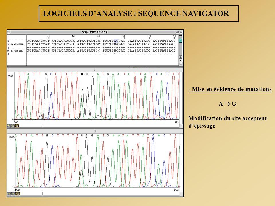 LOGICIELS D'ANALYSE : SEQUENCE NAVIGATOR - Mise en évidence de mutations A  G Modification du site accepteur d'épissage