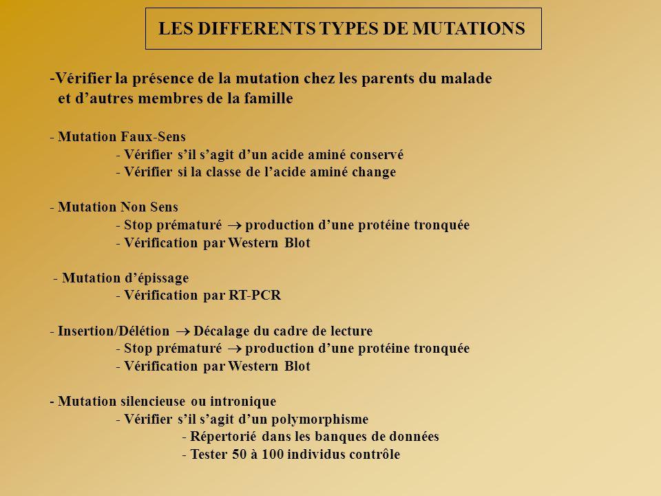 LES DIFFERENTS TYPES DE MUTATIONS -Vérifier la présence de la mutation chez les parents du malade et d'autres membres de la famille - Mutation Faux-Se