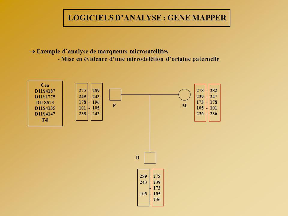  Exemple d'analyse de marqueurs microsatellites - Mise en évidence d'une microdélétion d'origine paternelle Cen D11S4187 D11S1775 D11S873 D11S4135 D1