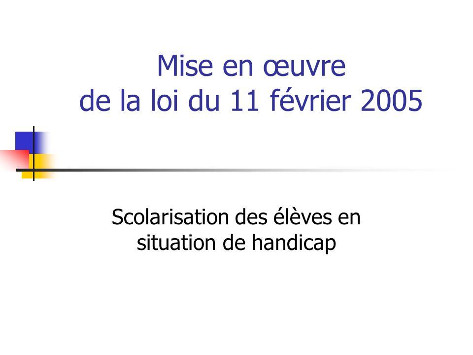Mise en œuvre de la loi du 11 février 2005 Scolarisation des élèves en situation de handicap