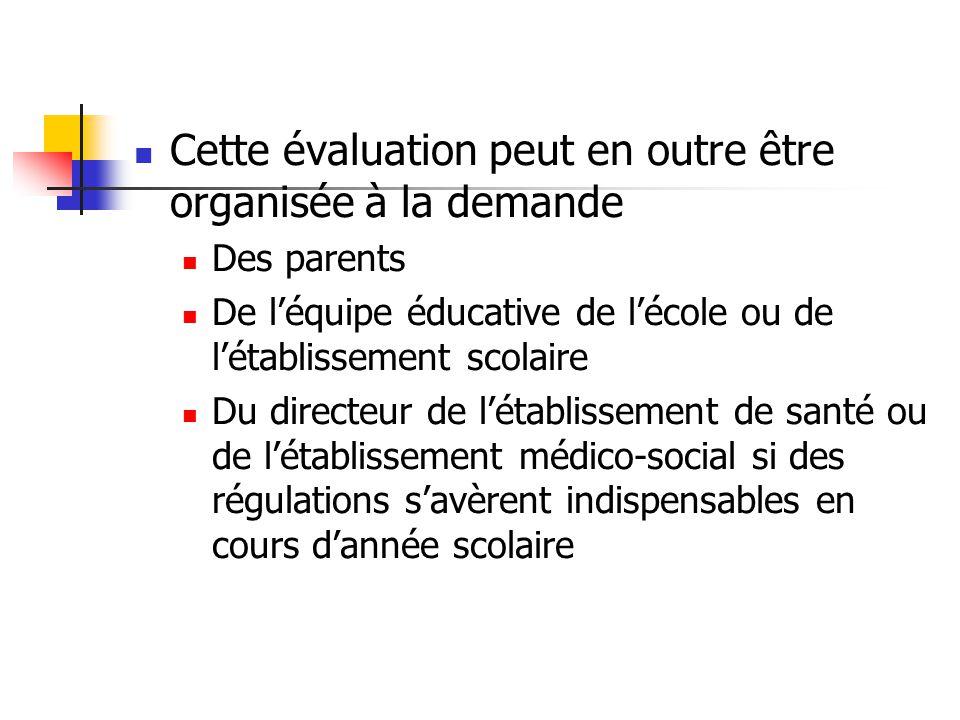 Cette évaluation peut en outre être organisée à la demande Des parents De l'équipe éducative de l'école ou de l'établissement scolaire Du directeur de