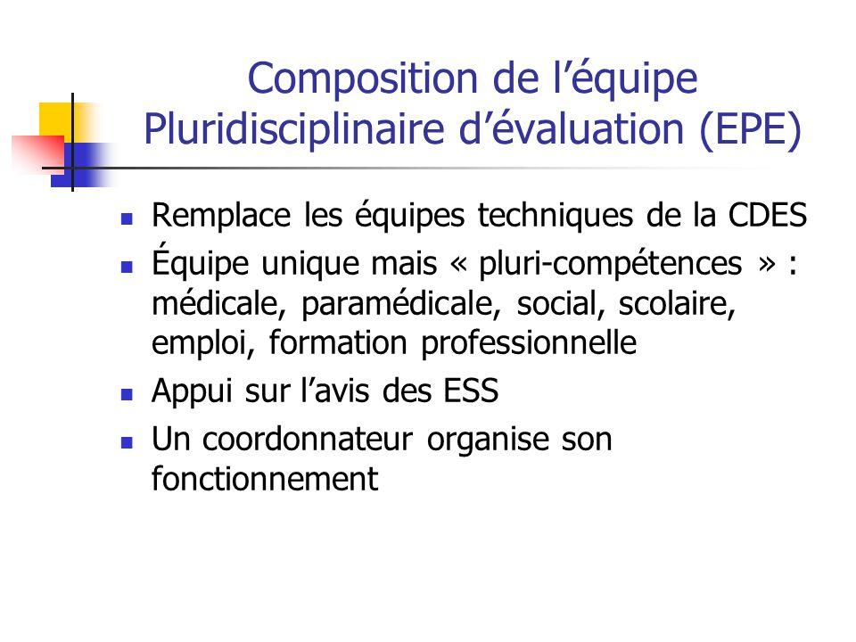 Composition de l'équipe Pluridisciplinaire d'évaluation (EPE) Remplace les équipes techniques de la CDES Équipe unique mais « pluri-compétences » : mé