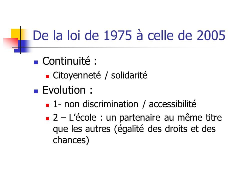 De la loi de 1975 à celle de 2005 Continuité : Citoyenneté / solidarité Evolution : 1- non discrimination / accessibilité 2 – L'école : un partenaire