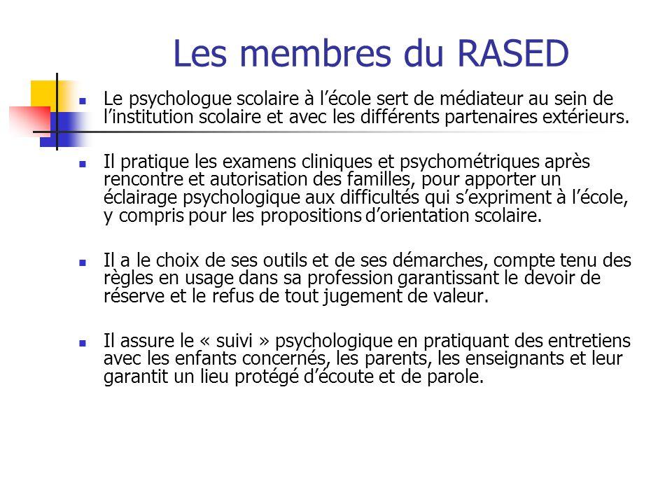 Les membres du RASED Le psychologue scolaire à l'école sert de médiateur au sein de l'institution scolaire et avec les différents partenaires extérieu