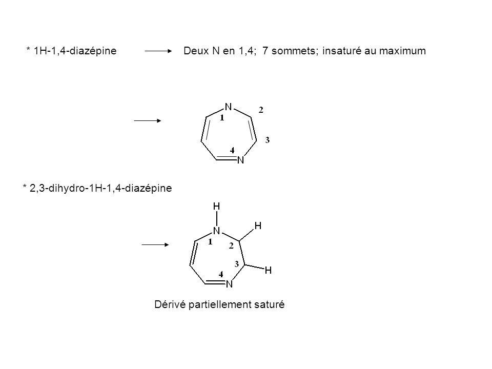 * 1H-1,4-diazépineDeux N en 1,4; 7 sommets; insaturé au maximum * 2,3-dihydro-1H-1,4-diazépine Dérivé partiellement saturé