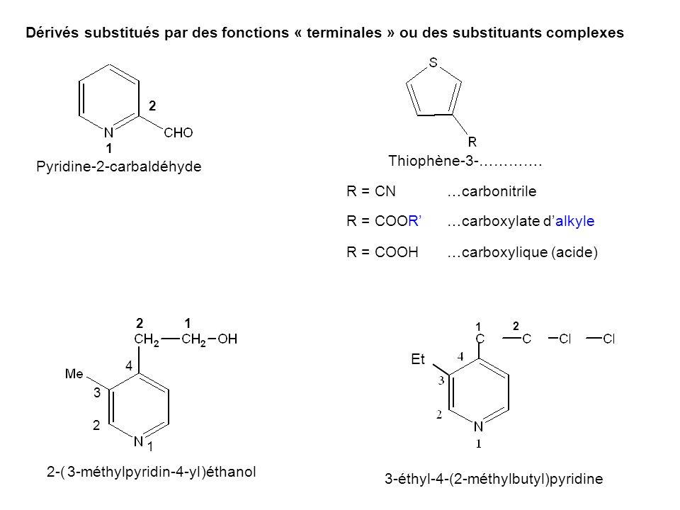 Dérivés substitués par des fonctions « terminales » ou des substituants complexes 1 2 Pyridine-2-carbaldéhyde R = COOH R = CN R = COOR' Thiophène-3-………….