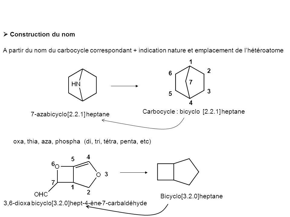  Construction du nom A partir du nom du carbocycle correspondant + indication nature et emplacement de l'hétéroatome Carbocycle :heptanebicyclo[2.2.1] 1 2 3 4 5 6 7 heptane7-azabicyclo[2.2.1] oxa, thia, aza, phospha(di, tri, tétra, penta, etc) Bicyclo[3.2.0]heptane bicyclo[3.2.0]hept-4-ène3,6-dioxa-7-carbaldéhyde