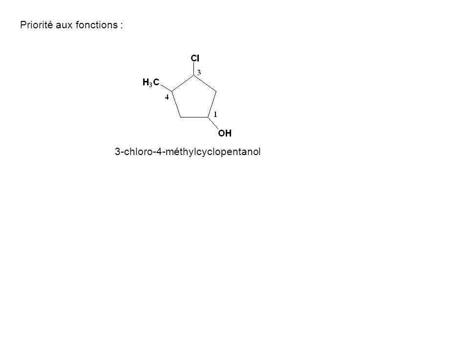 Priorité aux fonctions : 3-chloro-4-méthylcyclopentanol