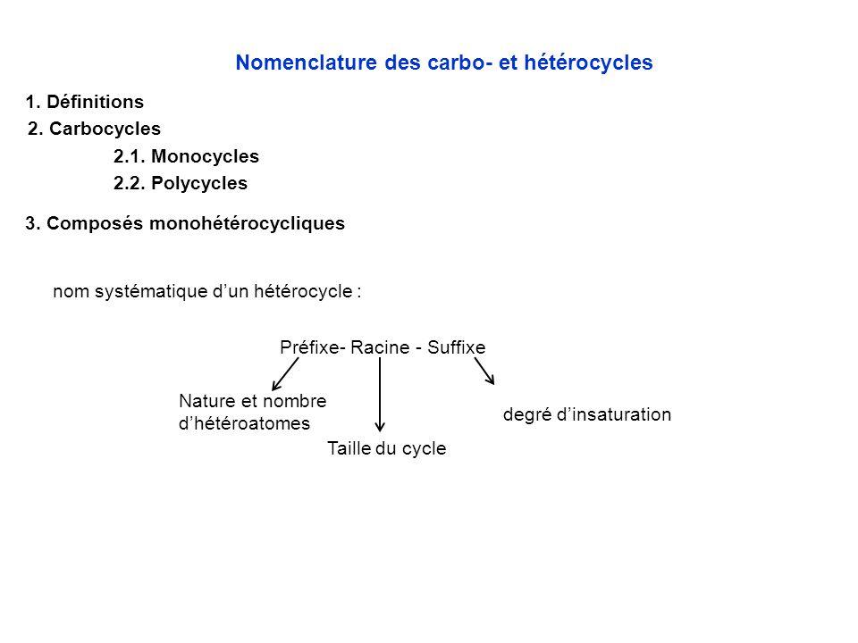 3. Composés monohétérocycliques nom systématique d'un hétérocycle : Préfixe- Racine - Suffixe degré d'insaturation Nature et nombre d'hétéroatomes Tai