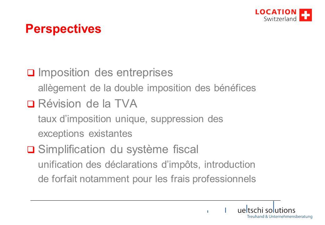 Perspectives  Imposition des entreprises allègement de la double imposition des bénéfices  Révision de la TVA taux d'imposition unique, suppression