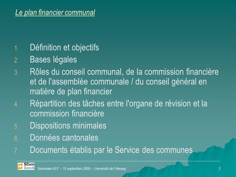 Le plan financier communal 1. 1. Définition et objectifs 2. 2. Bases légales 3. 3. Rôles du conseil communal, de la commission financière et de l'asse