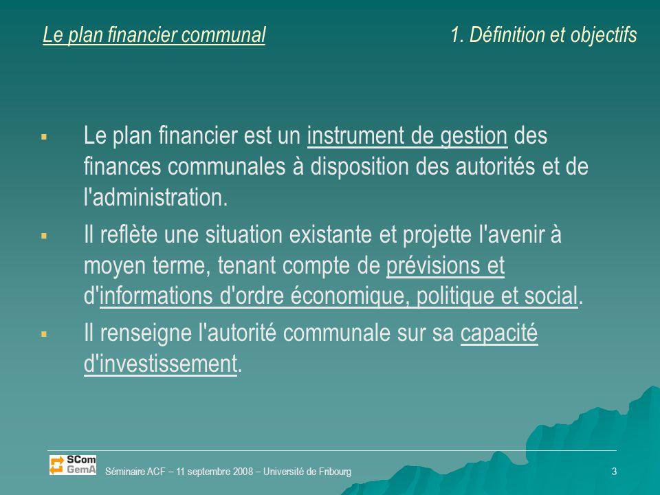 Le plan financier communal   Le plan financier est un instrument de gestion des finances communales à disposition des autorités et de l'administrati