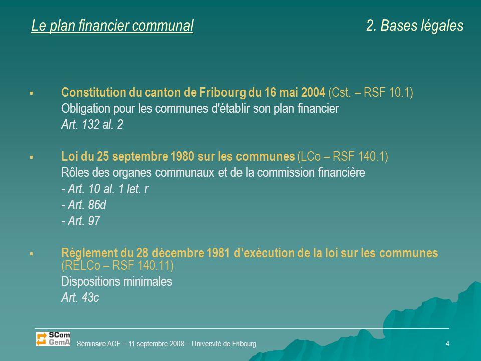 Le plan financier communal   Constitution du canton de Fribourg du 16 mai 2004 (Cst. – RSF 10.1) Obligation pour les communes d'établir son plan fin