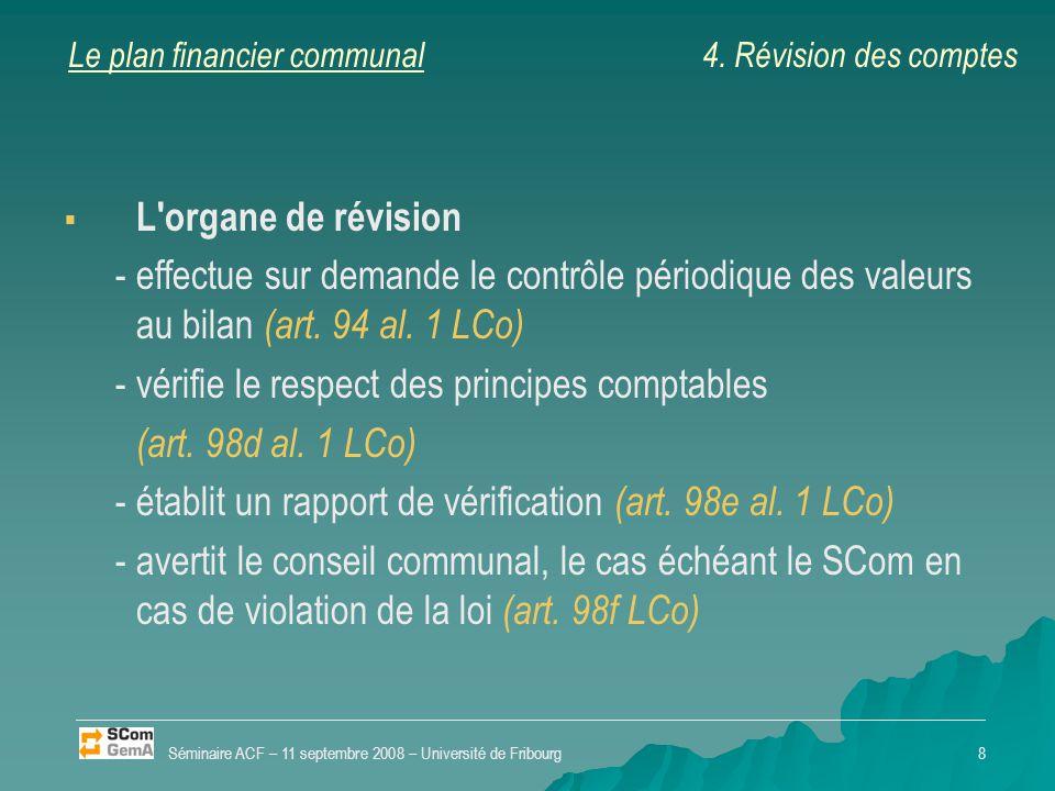 Le plan financier communal   Désignation de l organe de révision   Révision des comptes   Contrôle des investissements en cours Séminaire ACF – 11 septembre 2008 – Université de Fribourg9 4.
