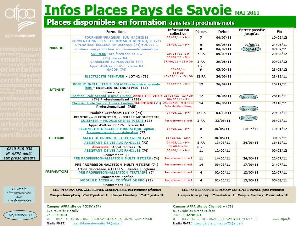 Infos Places Pays de Savoie MAI 2011 Campus AFPA site de POISY (74) 675 route de Macully 74330 POISY  04 50 46 19 46 – 06.99.69.87.29  04 50 46 36 9