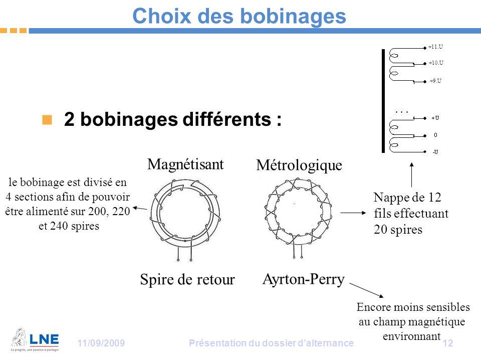 11/09/2009Présentation du dossier d'alternance 12 Choix des bobinages 2 bobinages différents : Ayrton-Perry Spire de retour Magnétisant Métrologique l