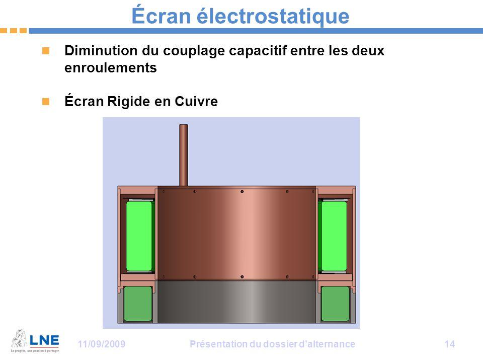 11/09/2009Présentation du dossier d'alternance 14 Écran électrostatique Diminution du couplage capacitif entre les deux enroulements Écran Rigide en Cuivre