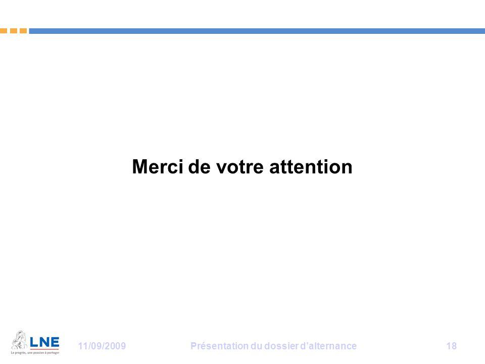 11/09/2009Présentation du dossier d'alternance 18 Merci de votre attention