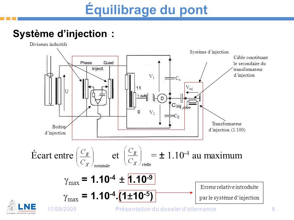 11/09/2009Présentation du dossier d'alternance 6 Équilibrage du pont Système d'injection : Diviseurs inductifs Boîtier d'injection Transformateur d'injection (1/100) CxCx CECE V2V2 V1V1 V inj U Système d'injection Câble constituant le secondaire du transformateur d'injection  max = 1.10 -4.(1±10 -5 ) Erreur relative introduite par le système d'injection  max = 1.10 -4 ± 1.10 -9 Écart entre et = ± 1.10 -4 au maximum
