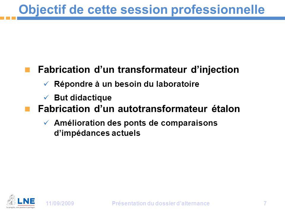 11/09/2009Présentation du dossier d'alternance 7 Objectif de cette session professionnelle Fabrication d'un transformateur d'injection Répondre à un b