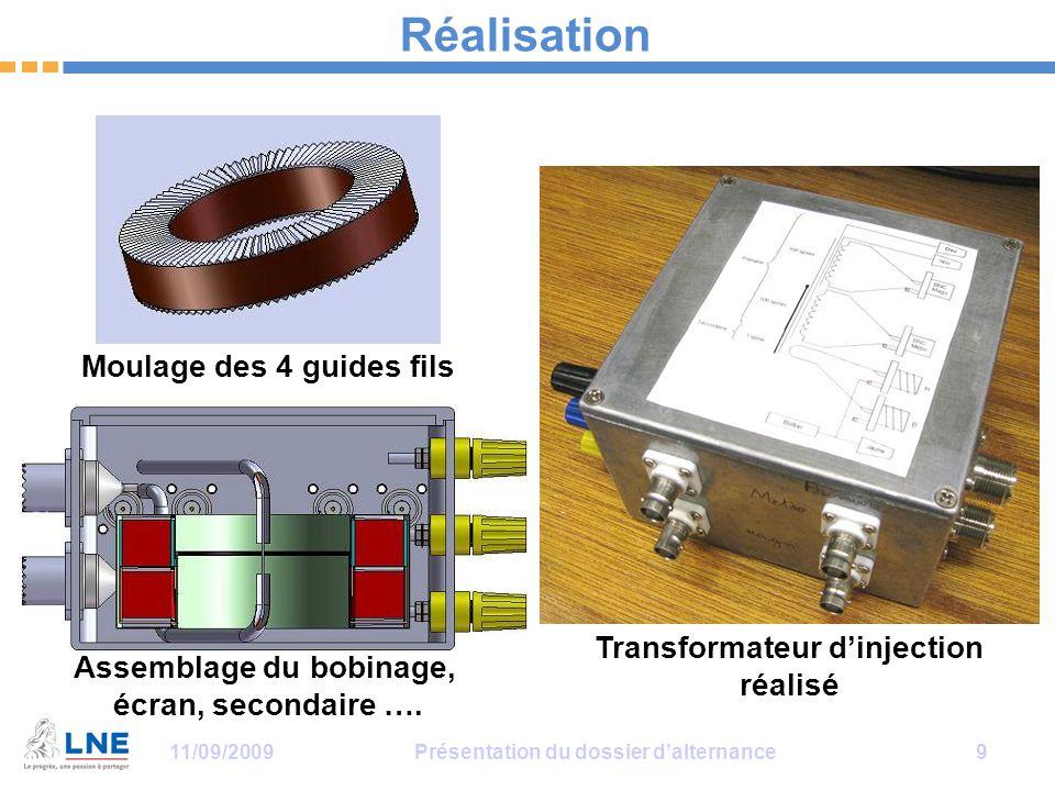11/09/2009Présentation du dossier d'alternance 9 Réalisation Moulage des 4 guides fils Assemblage du bobinage, écran, secondaire …. Transformateur d'i