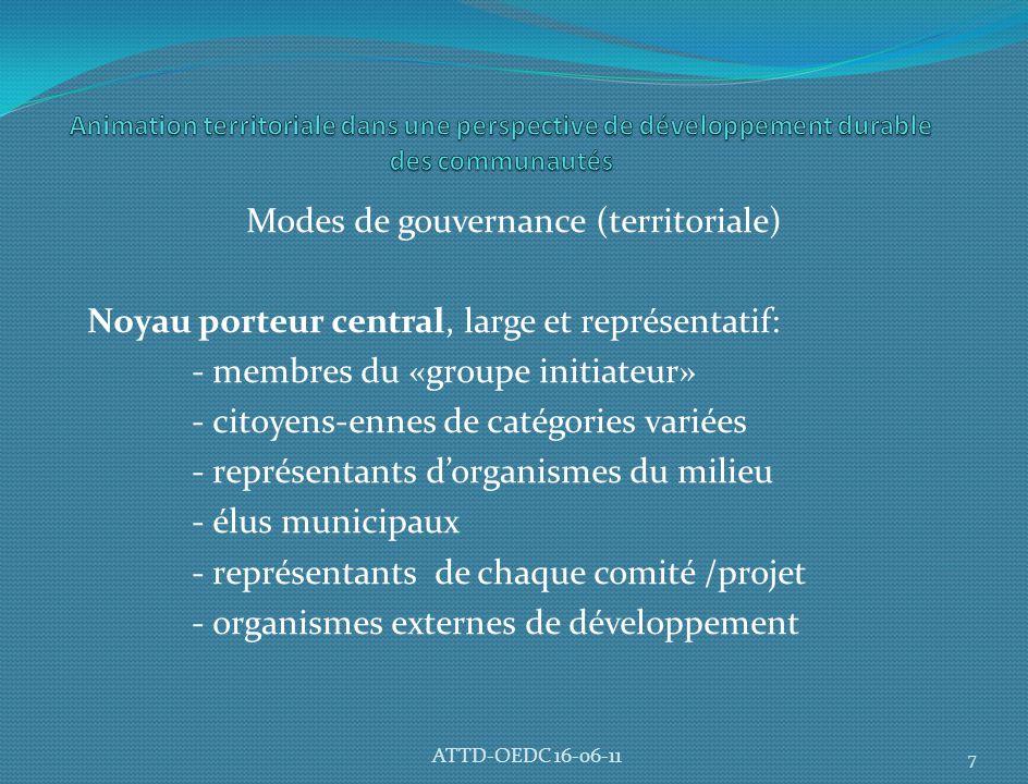 Modes de gouvernance (territoriale) Noyau porteur central, large et représentatif: - membres du «groupe initiateur» - citoyens-ennes de catégories variées - représentants d'organismes du milieu - élus municipaux - représentants de chaque comité /projet - organismes externes de développement 7 ATTD-OEDC 16-06-11
