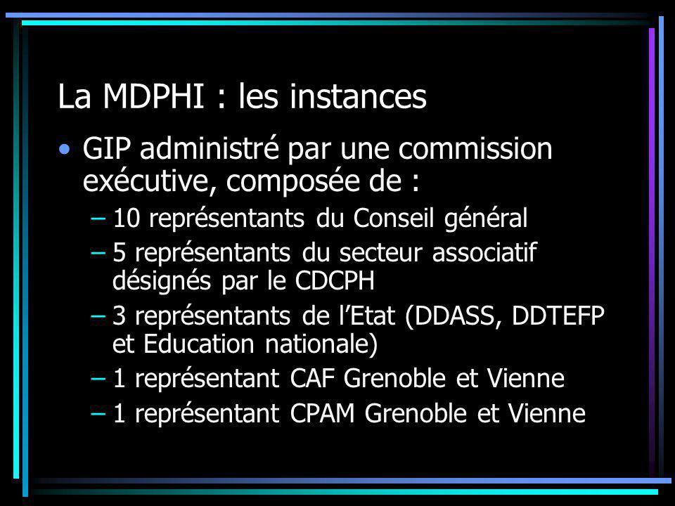 La MDPHI : les instances GIP administré par une commission exécutive, composée de : –10 représentants du Conseil général –5 représentants du secteur a