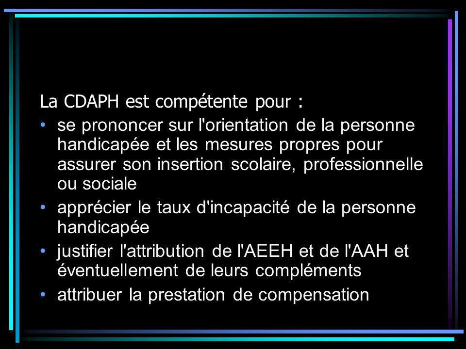 La CDAPH est compétente pour : se prononcer sur l'orientation de la personne handicapée et les mesures propres pour assurer son insertion scolaire, pr