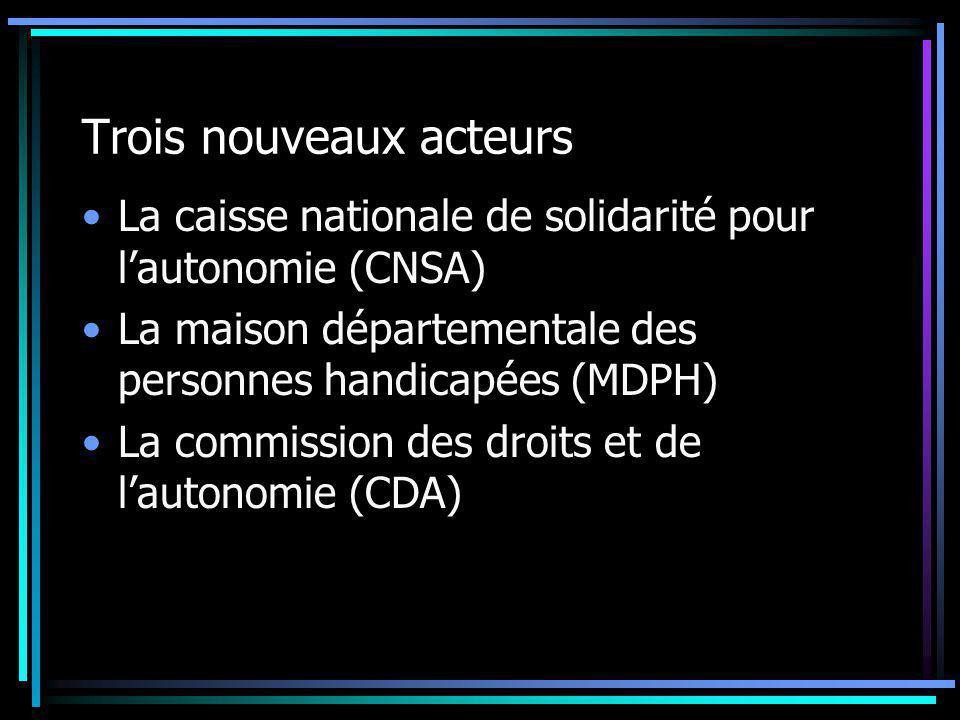 Trois nouveaux acteurs La caisse nationale de solidarité pour l'autonomie (CNSA) La maison départementale des personnes handicapées (MDPH) La commissi