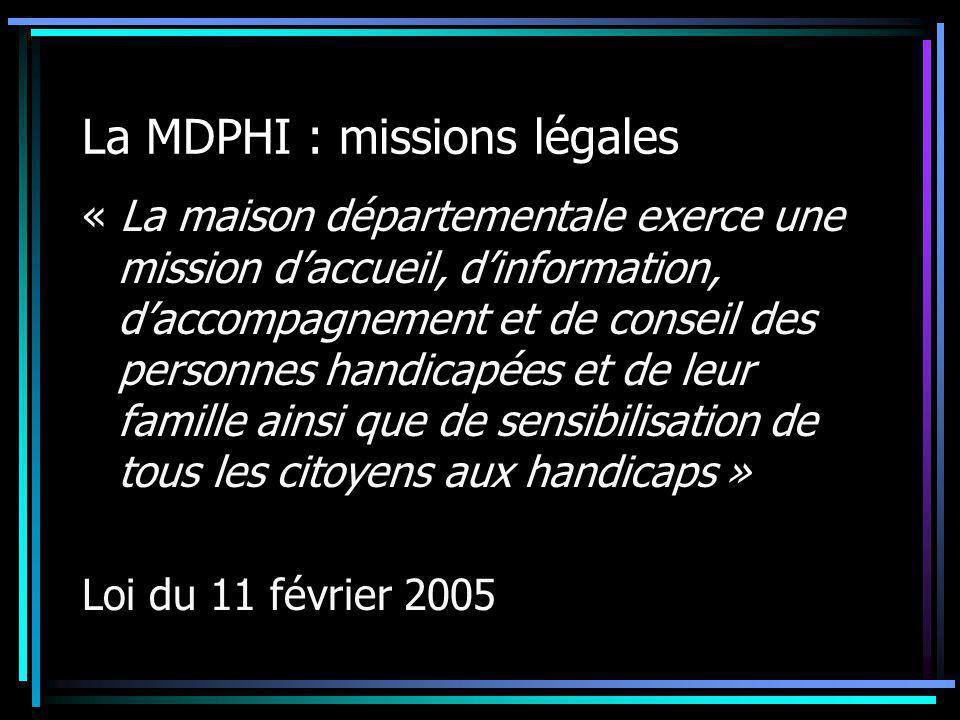 La MDPHI : missions légales La MDPHI accompagne les personnes et les familles après l'annonce et lors de l'évolution de leur handicap La MDPHI met en place et organise les équipes pluridisciplinaires qui évaluent les besoins de la personne sur la base du projet de vie avec proposition d'un plan personnalisé de compensation du handicap
