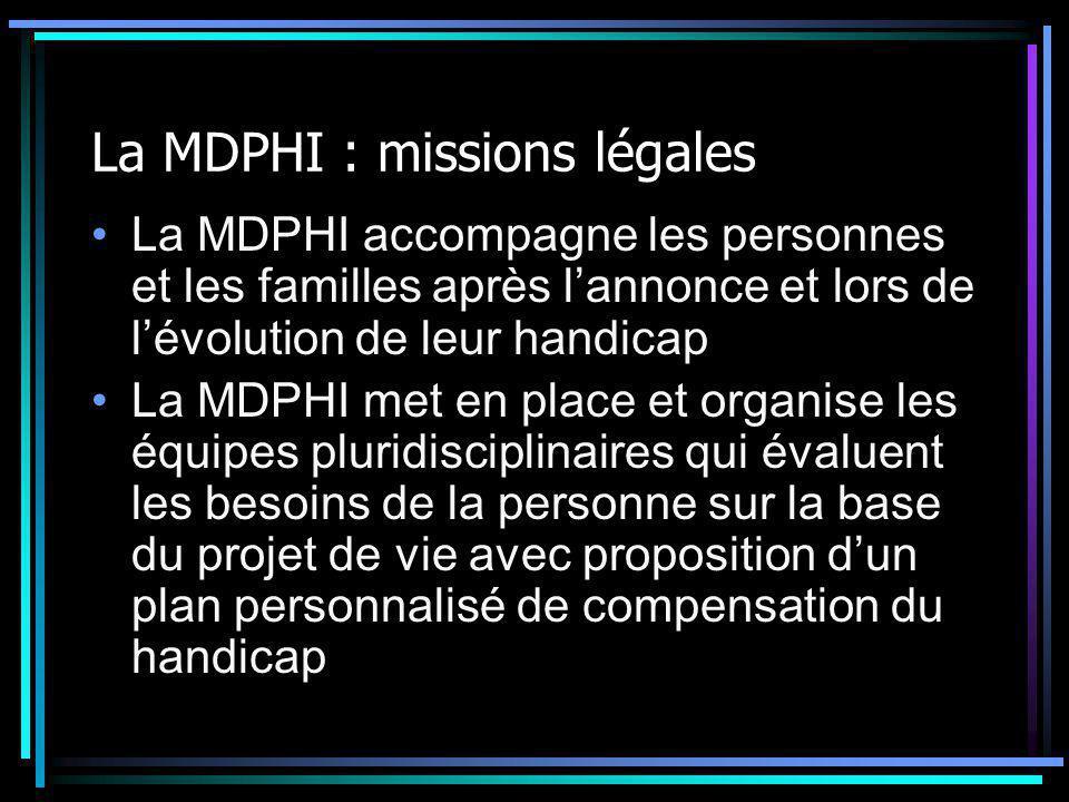 La MDPHI : missions légales La MDPHI accompagne les personnes et les familles après l'annonce et lors de l'évolution de leur handicap La MDPHI met en