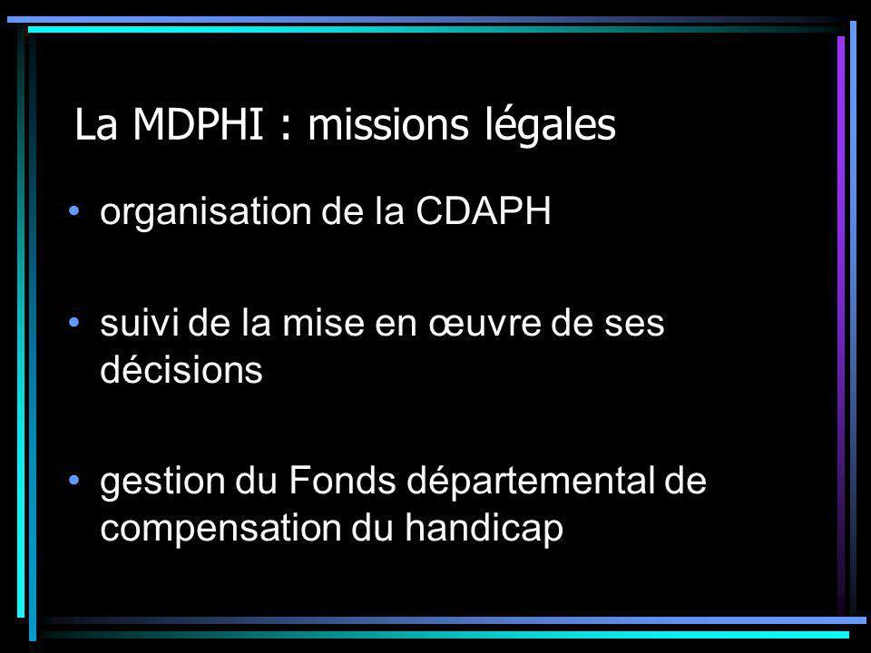La MDPHI : missions légales Organisation des actions de coordination avec les dispositifs sanitaires et médico- sociaux Désignation d'un référent pour l'insertion professionnelle Mise en place d'un numéro téléphonique pour les appels d'urgence et d'une équipe de veille pour les soins infirmiers