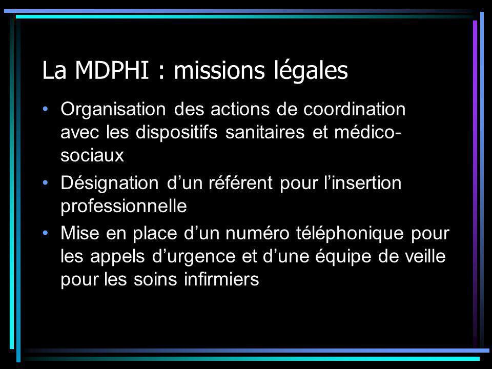 La MDPHI : missions légales Organisation des actions de coordination avec les dispositifs sanitaires et médico- sociaux Désignation d'un référent pour