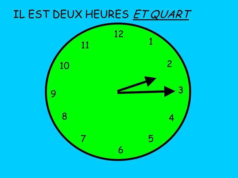 IL EST DEUX HEURES 12 1 5 4 9 3 6 10 11 2 7 8 ET QUART