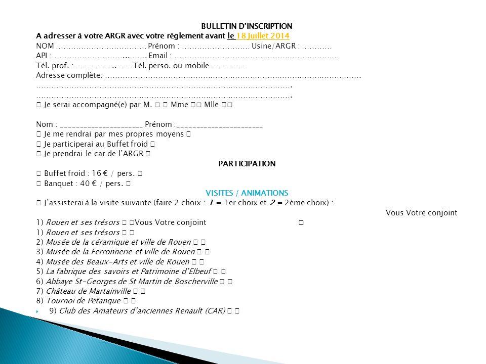 BULLETIN D'INSCRIPTION A adresser à votre ARGR avec votre règlement avant le 18 Juillet 2014 NOM ……………………………… Prénom : ……………………… Usine/ARGR : ………… API