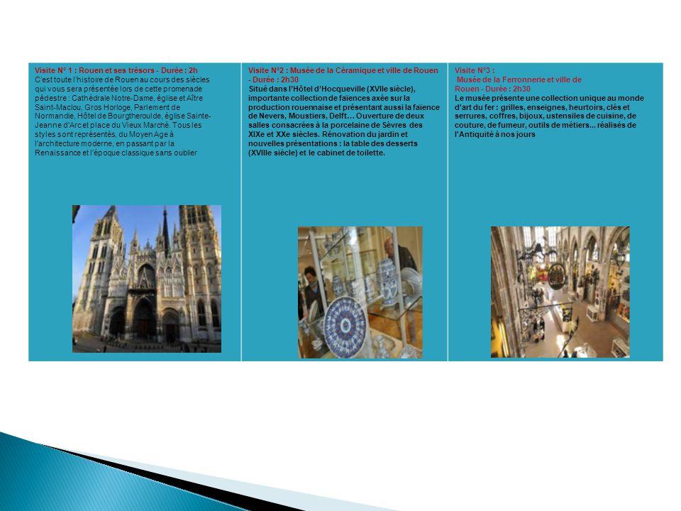 Visite N° 1 : Rouen et ses trésors - Durée : 2h C'est toute l'histoire de Rouen au cours des siècles qui vous sera présentée lors de cette promenade p