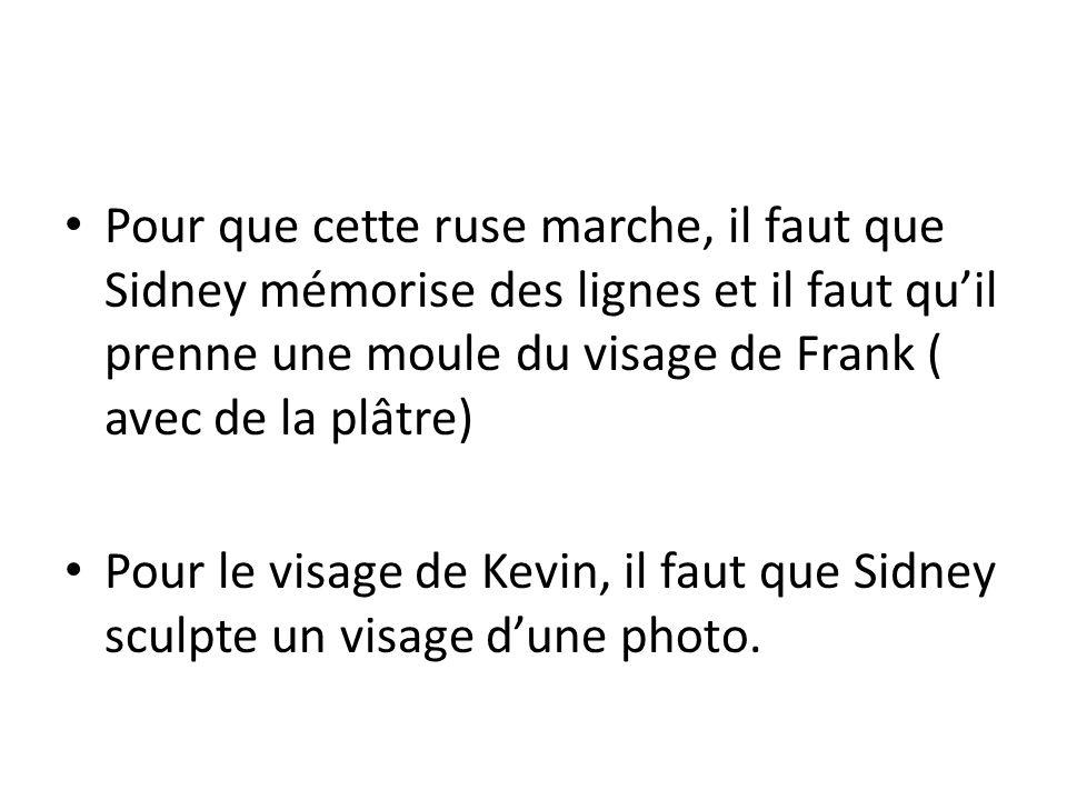 Pour que cette ruse marche, il faut que Sidney mémorise des lignes et il faut qu'il prenne une moule du visage de Frank ( avec de la plâtre) Pour le visage de Kevin, il faut que Sidney sculpte un visage d'une photo.