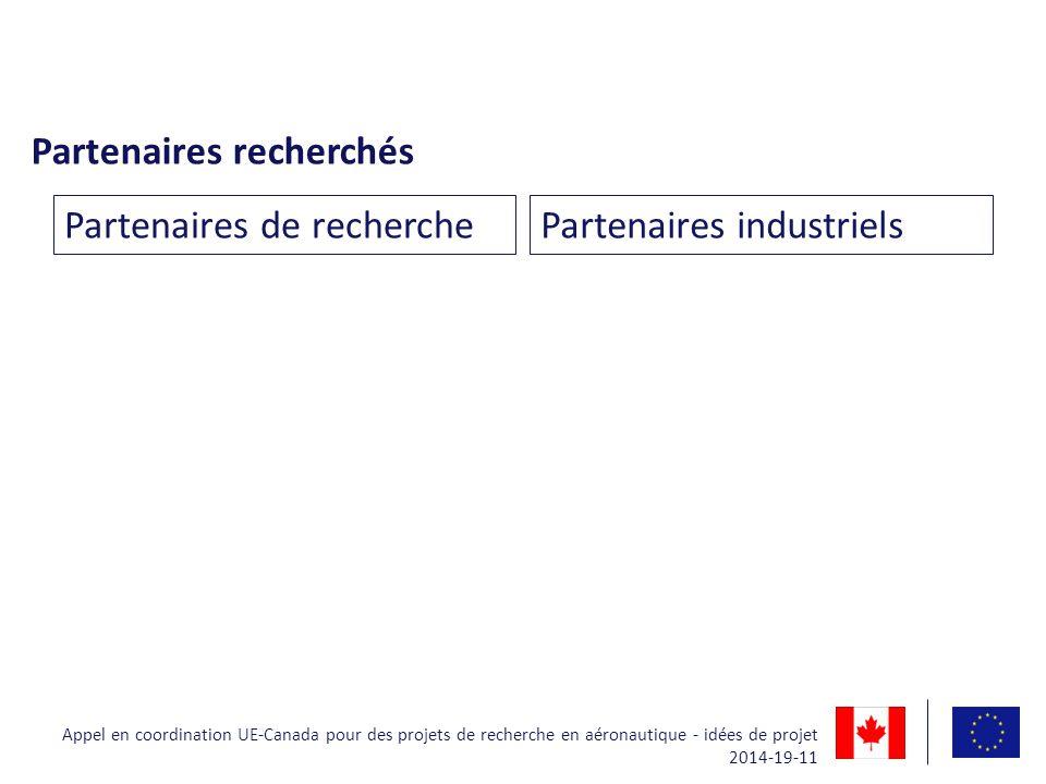 Partenaires recherchés Partenaires de recherchePartenaires industriels Appel en coordination UE-Canada pour des projets de recherche en aéronautique -