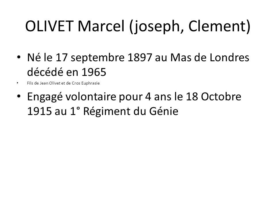 OLIVET Marcel (joseph, Clement) Né le 17 septembre 1897 au Mas de Londres décédé en 1965 Fils de Jean Olivet et de Cros Euphrasie Engagé volontaire po
