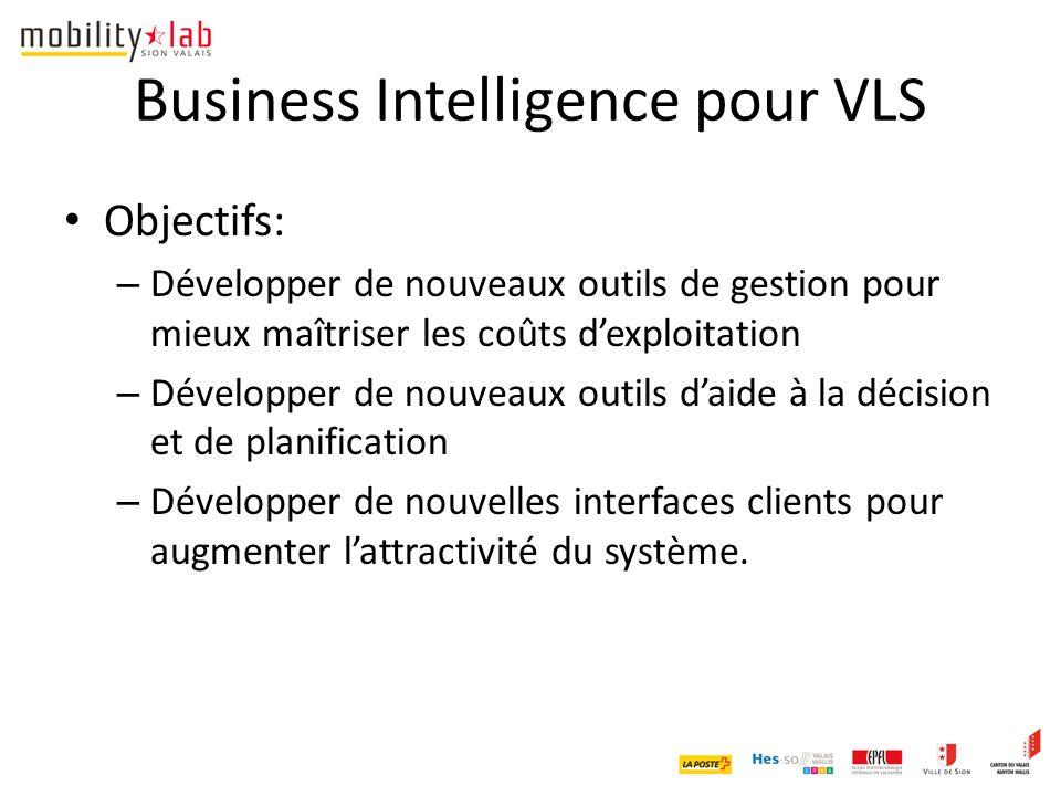 Business Intelligence pour VLS Objectifs: – Développer de nouveaux outils de gestion pour mieux maîtriser les coûts d'exploitation – Développer de nouveaux outils d'aide à la décision et de planification – Développer de nouvelles interfaces clients pour augmenter l'attractivité du système.