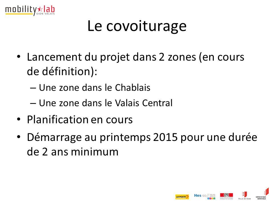 Le covoiturage Lancement du projet dans 2 zones (en cours de définition): – Une zone dans le Chablais – Une zone dans le Valais Central Planification en cours Démarrage au printemps 2015 pour une durée de 2 ans minimum