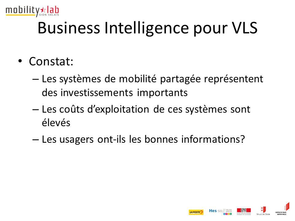 Business Intelligence pour VLS Constat: – Les systèmes de mobilité partagée représentent des investissements importants – Les coûts d'exploitation de ces systèmes sont élevés – Les usagers ont-ils les bonnes informations